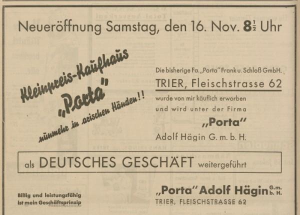 """""""Kleinpreis-Kaufhaus 'Porta' nunmehr in arischen Händen!!"""" - so warb Adolf Hägin am 15. November 1935 im """"Trierer Nationalblatt"""" für """"sein"""" neues Geschäft. Scan: Stadtarchiv"""